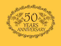 50 years anniversary card. 50 anniversary royal logo vintage design card element Stock Images