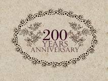 200 years anniversary card. 200 anniversary royal logo vintage design card element Royalty Free Stock Image