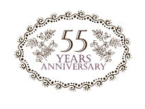 55 years anniversary card. 55 anniversary royal logo vintage design card element Stock Image