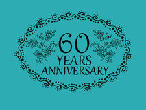 60 years anniversary card. 60 anniversary royal logo vintage design card element Stock Images