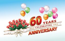 60 years anniversary. Celebrating 60th anniversary with a bouquet of roses and balloons Stock Images