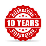 10 years anniversary celebrating vector icon. 10 years anniversary celebrating icon illustration isolated on white background Royalty Free Stock Images
