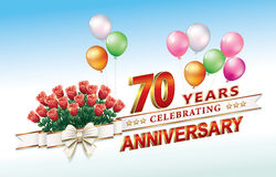 70 years anniversary. Celebrating 70 years anniversary wiht flowers and ballons vector illustration