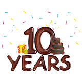 10 Years Anniversary celebration birthday. Vector illustration Stock Photography