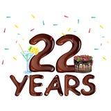 22 Years Anniversary celebration birthday. Vector illustration Stock Image