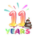 11 Years Anniversary celebration with cake. Vector illustration Stock Photography