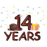 14 Years Anniversary celebration with cake. Vector illustration Stock Photography