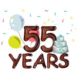 55 Years Anniversary celebration card with ballons. Vector illustration Stock Photo