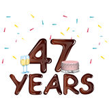 48 Years Anniversary celebration card with cake Royalty Free Stock Photos