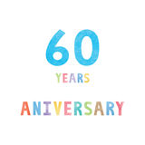 60 years anniversary celebration card. With colorful watercolor text on white background Royalty Free Stock Images
