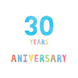 30 years anniversary celebration card. With colorful watercolor text on white background Stock Photo