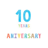 10 years anniversary celebration card Stock Images