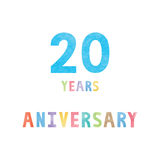 20 years anniversary celebration card. With colorful watercolor text on white background Royalty Free Stock Photography