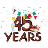 45 Years Anniversary celebration. Card. Vector illustration Royalty Free Stock Photo