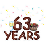 63 Years Anniversary celebration card. Vector illustration vector illustration