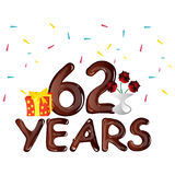 62 Years Anniversary celebration card. Vector illustration Stock Photo