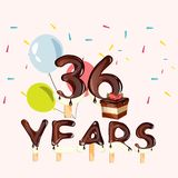 36 Years Anniversary Celebration card. Vector illustration Stock Photography