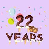 22 Years Anniversary celebration card. Vector illustration Royalty Free Stock Images