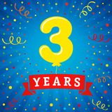 3 years anniversary celebration with colored balloon & confetti. Vector illustration design for your Celebration party the 3th years template number anniversary Royalty Free Stock Photo
