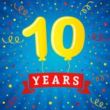 10 years anniversary celebration with colored balloons & confetti. Vector illustration design for your Celebration party the 10th years template numbers Royalty Free Stock Photo