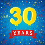 30 years anniversary celebration with colored balloons & confetti. Vector illustration design for your Celebration party the 30th years template numbers Stock Photo