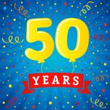 50 years anniversary celebration with colored balloons & confetti. Vector illustration design for your Celebration party the 50th years template numbers Royalty Free Stock Photo