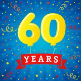 60 years anniversary celebration with colored balloons & confetti. Vector illustration design for your Celebration party the 60th years template numbers Stock Images
