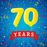 70 years anniversary celebration with colored balloons & confetti. Vector illustration design for your Celebration party the 70th years template numbers Stock Photos