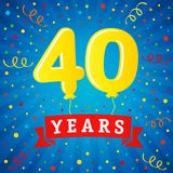 40 years anniversary celebration with colored balloons Stock Images