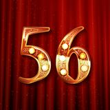 56 years anniversary celebration design. With gold color composition. On the background of a red curtain. Vector illustration stock illustration