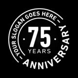 75 Years Anniversary Celebration Design Template. Anniversary vector and illustration. Seventy five years logo. 75 years anniversary celebration design template royalty free illustration
