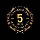 5 years design template. 5th vector and illustration. 5 years anniversary celebration design template. Five years celebrating vector and illustration. 5th royalty free illustration