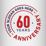60 Years Anniversary Celebration Design Template. Anniversary vector and illustration. Sixty years logo. 60 years anniversary celebration design template. Sixty royalty free illustration