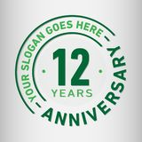 12 Years Anniversary Celebration Design Template. Anniversary vector and illustration. Twelve years logo. 12 years anniversary celebration design template royalty free illustration