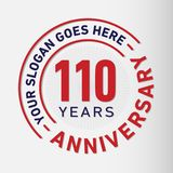110 Years Anniversary Celebration Design Template. Anniversary vector and illustration. 110 years logo. 110 years anniversary celebration design template. 110 royalty free illustration