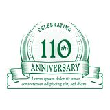 110th anniversary design template. 110 years logo. 110 years vector and illustration. 110 years anniversary celebration design template. 110years logo. 110th vector illustration