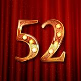 52 years anniversary celebration design. With gold color composition. On the background of a red curtain. Vector illustration royalty free illustration
