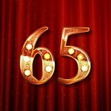 65 years anniversary celebration design. With gold color composition. On the background of a red curtain. Vector illustration Stock Illustration