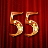 55 years anniversary celebration design. With gold color composition. On the background of a red curtain. Vector illustration Royalty Free Stock Images