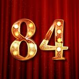 84 years anniversary celebration design. With gold color composition. On the background of a red curtain. Vector illustration Stock Photography