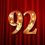 92 years anniversary celebration design. With gold color composition. On the background of a red curtain. Vector illustration Stock Image