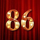 86 years anniversary celebration design. With gold color composition. On the background of a red curtain. Vector illustration Royalty Free Stock Photography