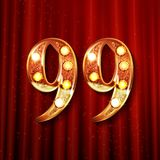 99 years anniversary celebration design. With gold color composition. On the background of a red curtain. Vector illustration Stock Photography