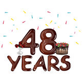 48 Years Anniversary celebration with flowers and cake. Vector illustration Stock Image