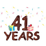 41 Years Anniversary celebration with gift box and cake Royalty Free Stock Photos