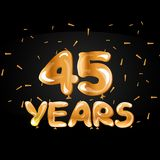 45 years anniversary celebration gold card. Vector illustration Stock Images