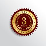 3 Years anniversary celebration Golden badge logo. stock illustration