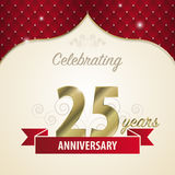 25 years anniversary celebration golden style. Vector.  Royalty Free Stock Photography
