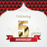 5 years anniversary celebration golden style. Vector. Illustration stock illustration