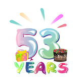 53 years anniversary celebration greeting card. Royalty Free Stock Image